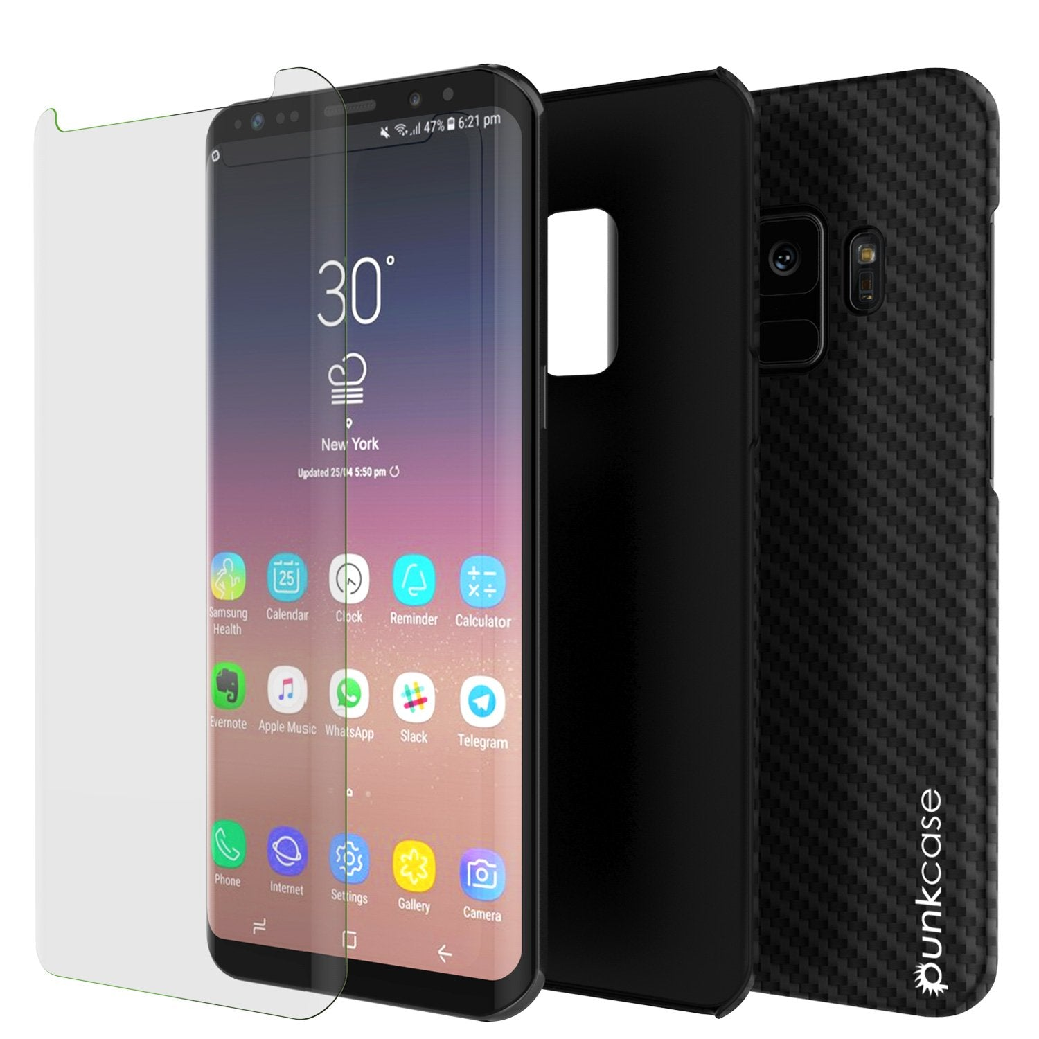 Galaxy S9 Case, Punkcase CarbonShield, Heavy Duty & Ultra Thin 2 Piece Dual Layer PU Leather Black Cover