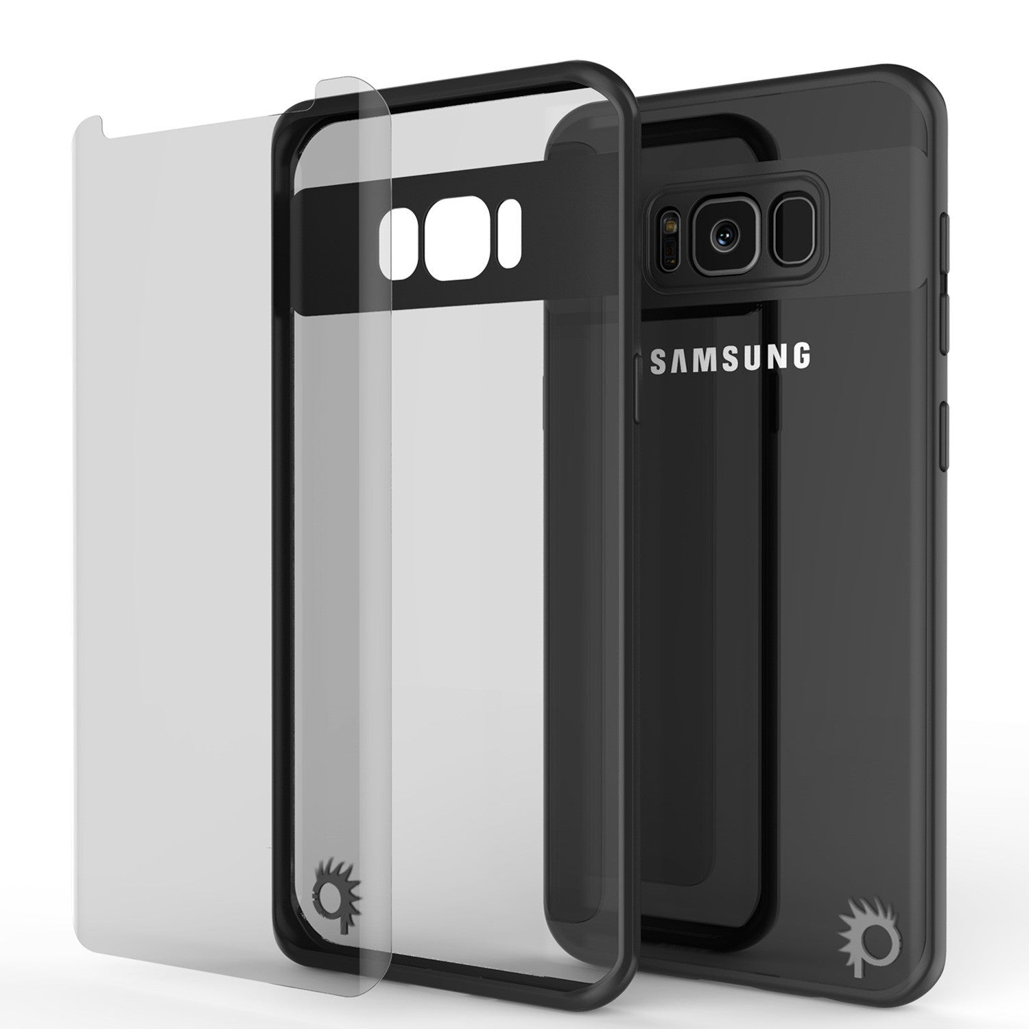 Galaxy S8 Plus Case, Punkcase [MASK Series] [BLACK] Full Body Hybrid Dual Layer TPU Cover W/ Protective PUNKSHIELD Screen Protector