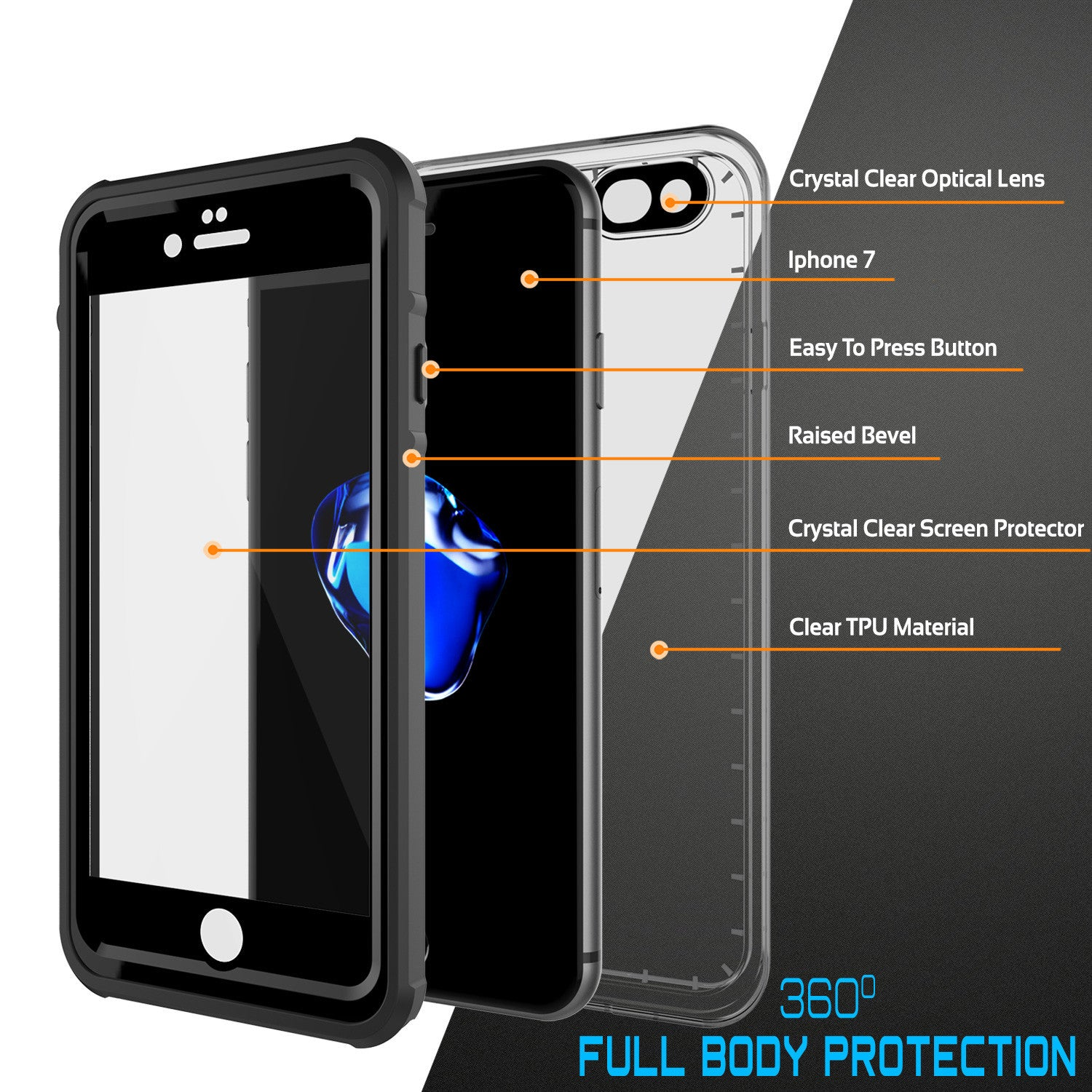 PUNKCASE - Crystal Series Waterproof Case for Apple IPhone 7 | Black