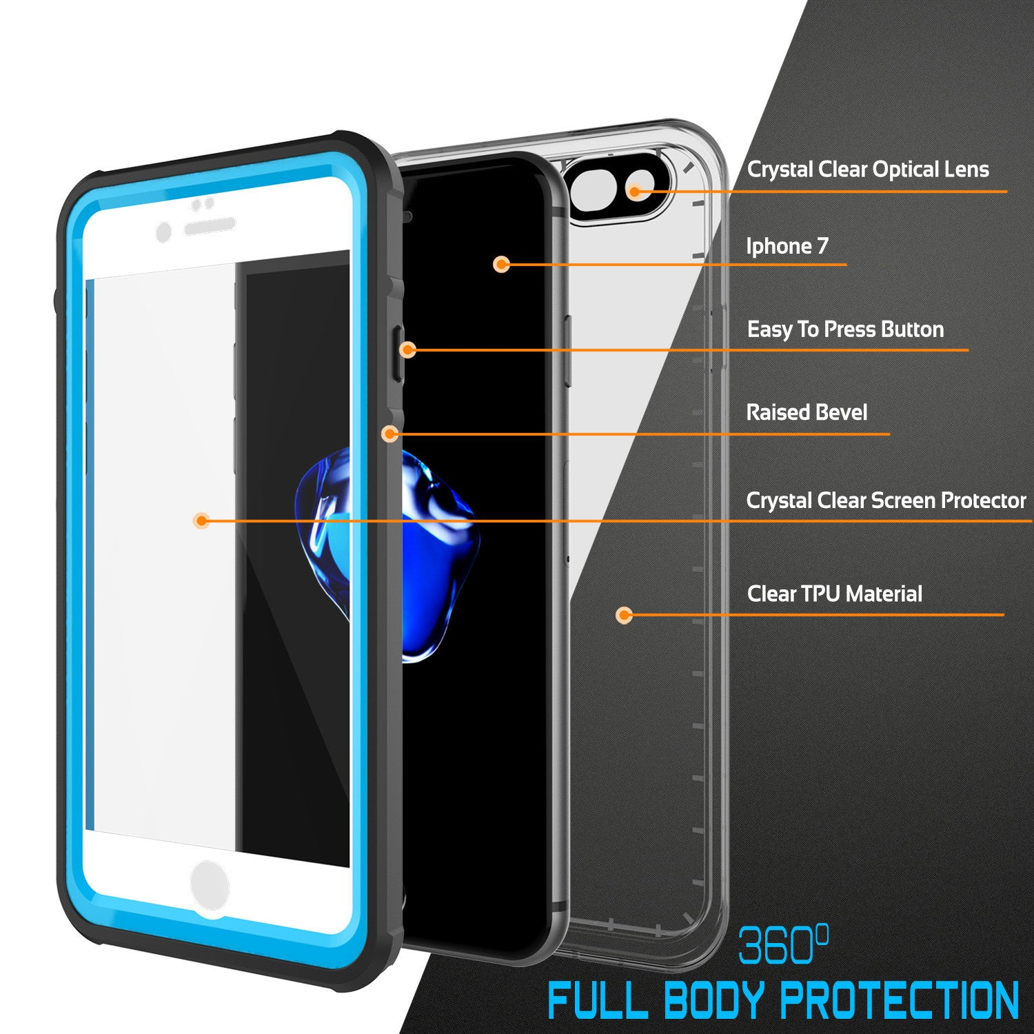 PUNKCASE - Crystal Series Waterproof Case for Apple IPhone 7 | Light Blue