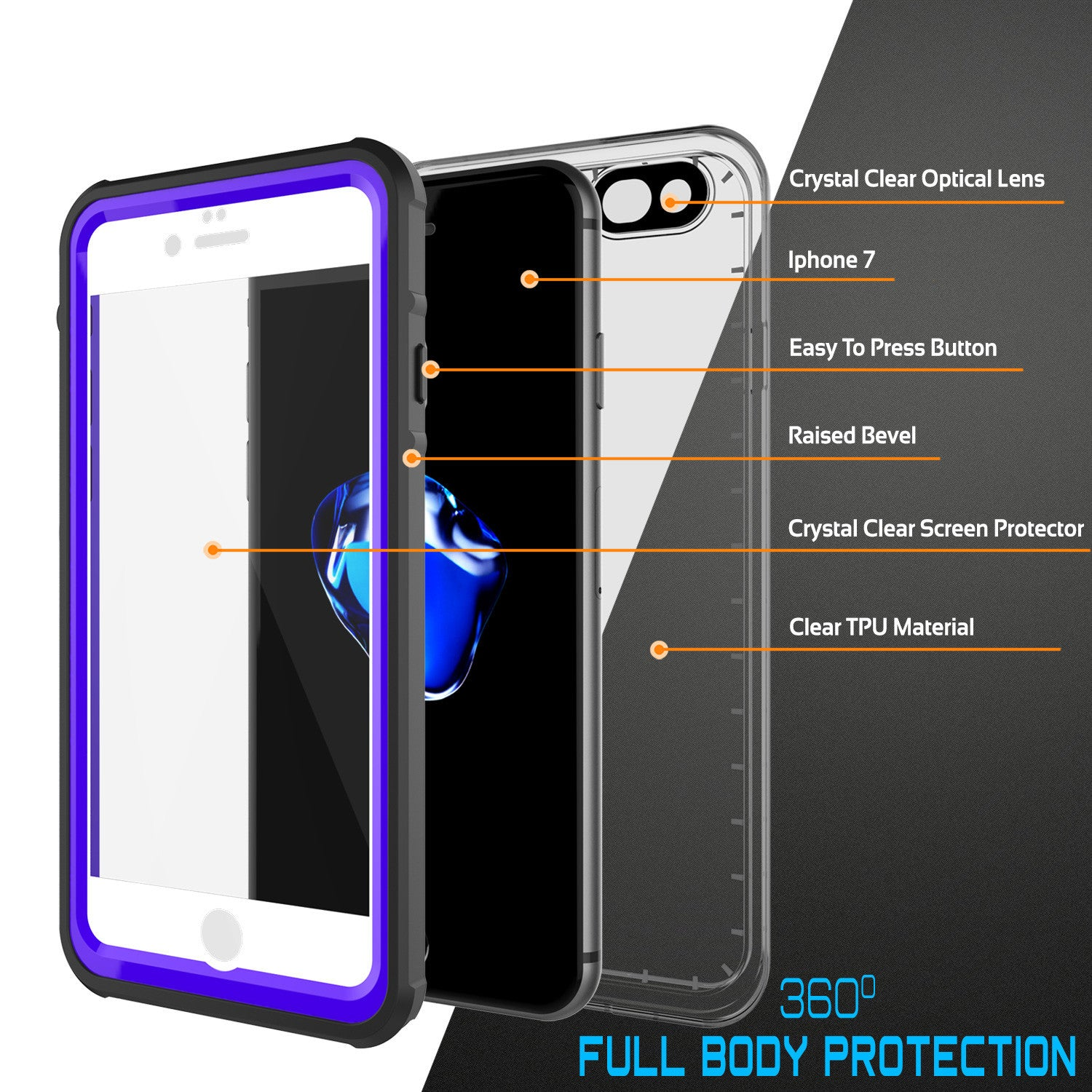 PUNKCASE - Crystal Series Waterproof Case for Apple IPhone 7 | Purple