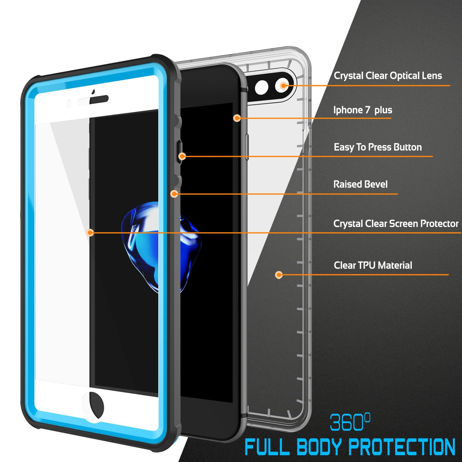 PUNKCASE - Crystal Series Waterproof Case for Apple IPhone 7+ Plus | Light Blue