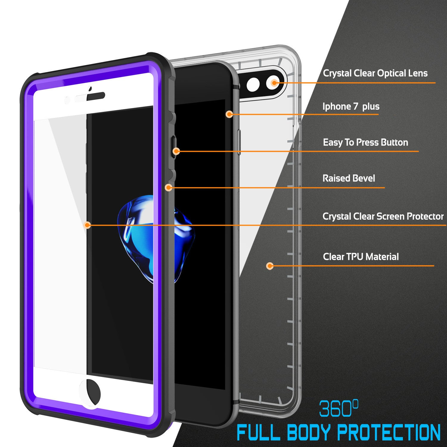 PUNKCASE - Crystal Series Waterproof Case for Apple IPhone 7+ Plus | Purple