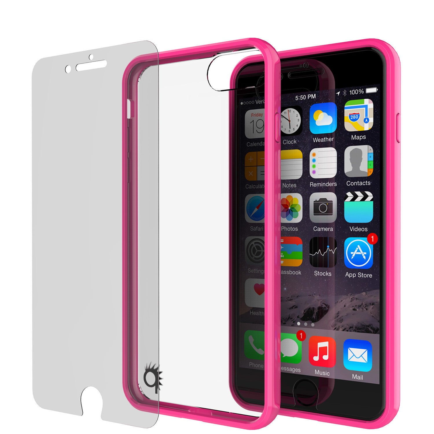 PUNKCASE - Lucid 2.0 Series Slick Frame Case for Apple IPhone 7+ Plus | Pink