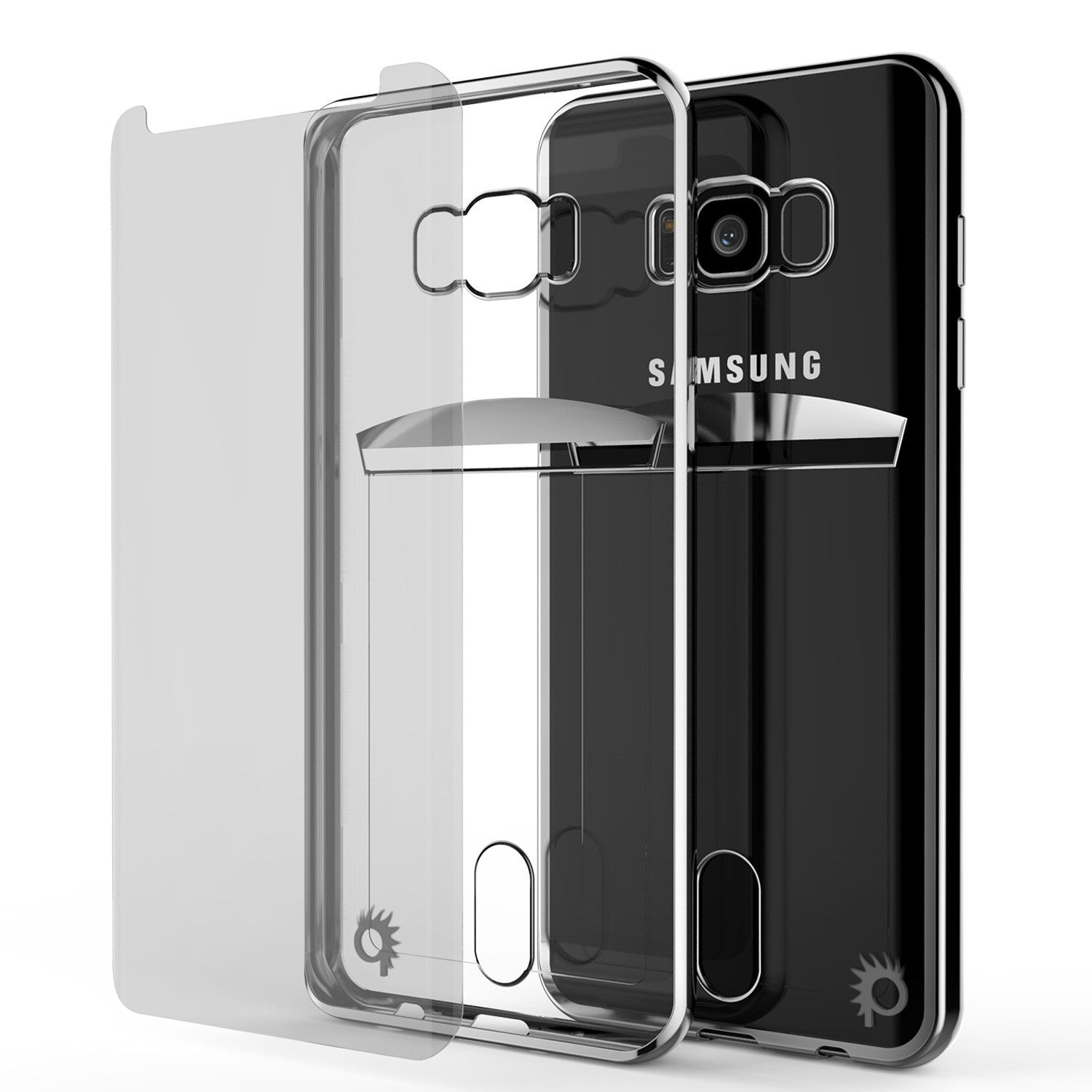 Galaxy S8 Case, PUNKCASE® LUCID Silver Series | Card Slot | SHIELD Screen Protector | Ultra fit