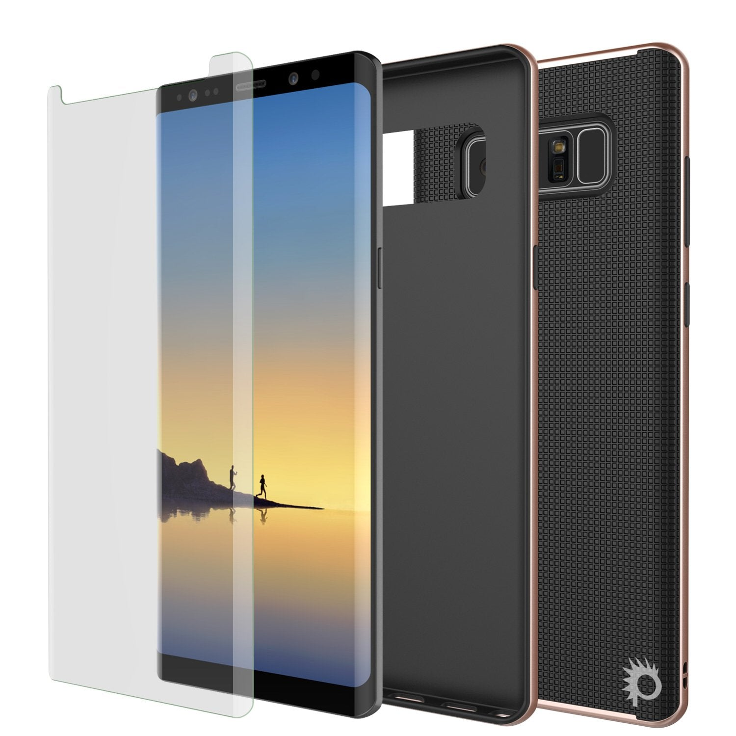 Galaxy Note 8 Case, PunkCase Stealth Rose Gold Series Hybrid 3-Piece Shockproof Dual Layer Cover