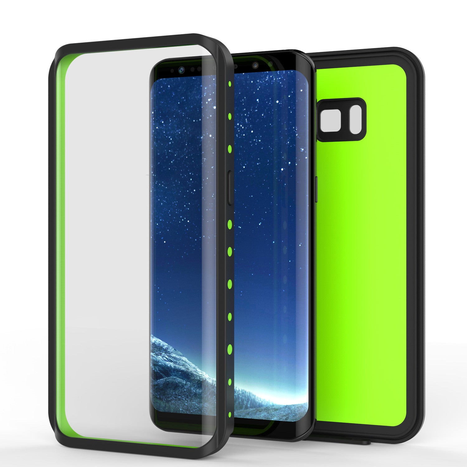 Galaxy S8 Plus Waterproof Case PunkCase StudStar Light Green