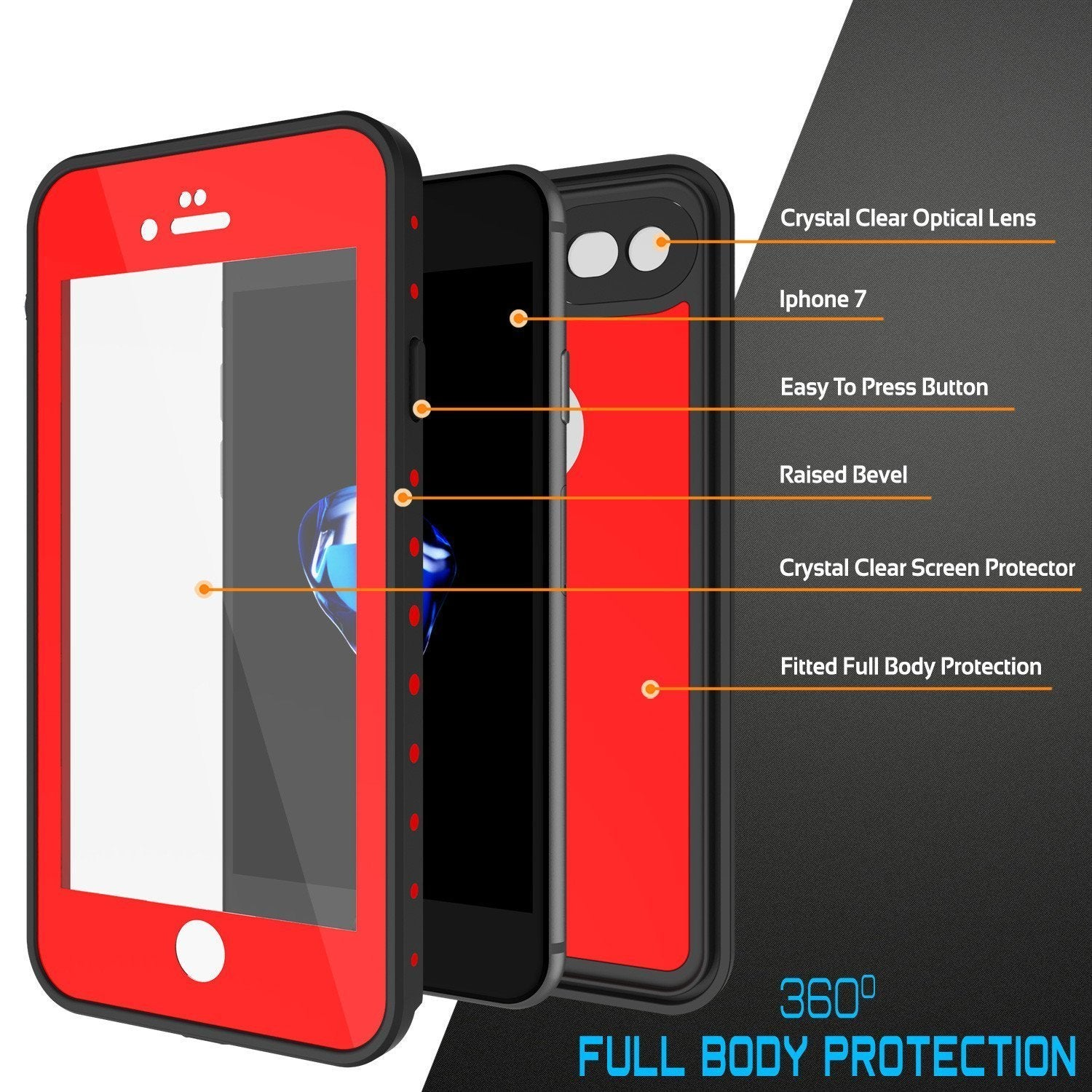 iPhone 8 Waterproof Case, Punkcase [Red] [StudStar Series] [Slim Fit] [IP68 Certified]  [Dirtproof] [Snowproof]