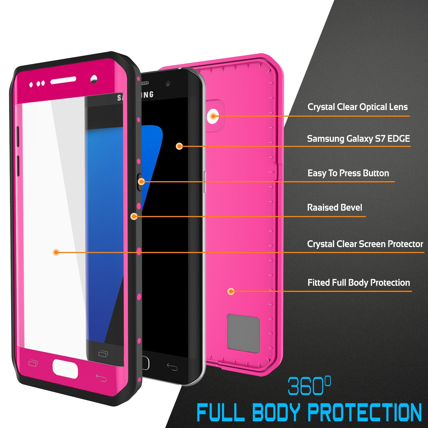 PUNKCASE - Studstar Series Snowproof Case for Galaxy S7 Edge | Pink