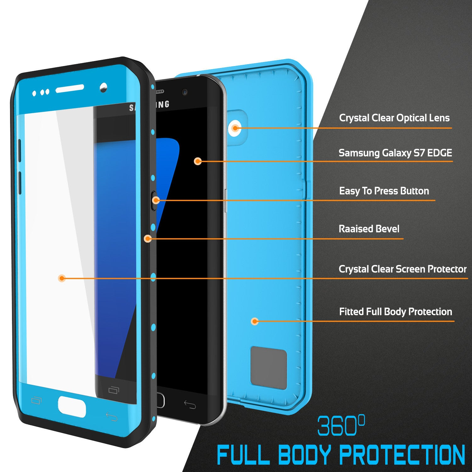 PUNKCASE - Studstar Series Snowproof Case for Galaxy S7 Edge | Light Blue