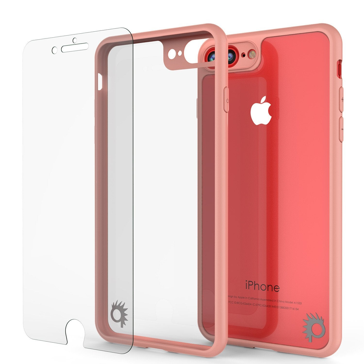 iPhone 8+ Plus Case [MASK Series] [PINK] Full Body Hybrid Dual Layer TPU Cover W/ protective Tempered Glass Screen Protector