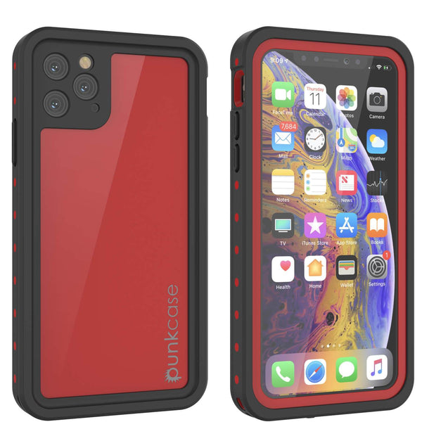 iPhone 11 Pro Waterproof IP68 Case, Punkcase [Red] [StudStar Series] [Slim Fit]