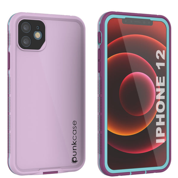 Punkcase iPhone 12 Waterproof Case [Aqua Series] Armor Cover [Purple]