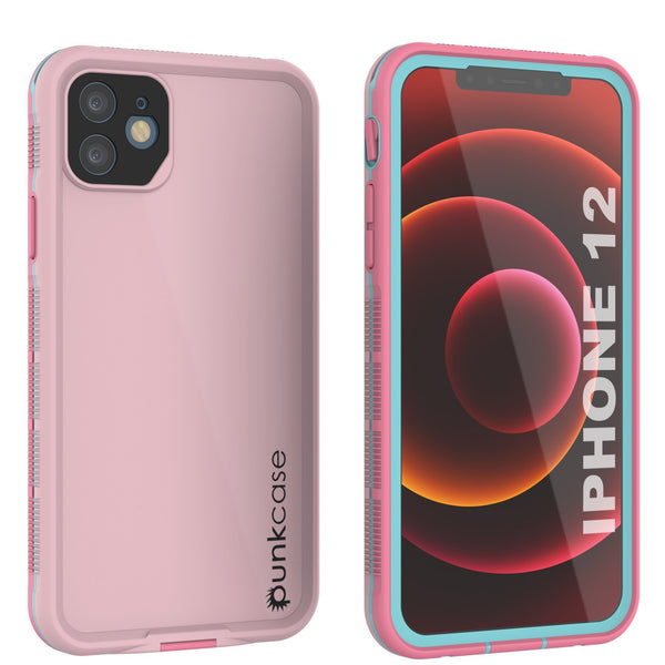 Punkcase iPhone 12 Waterproof Case [Aqua Series] Armor Cover [Pink]