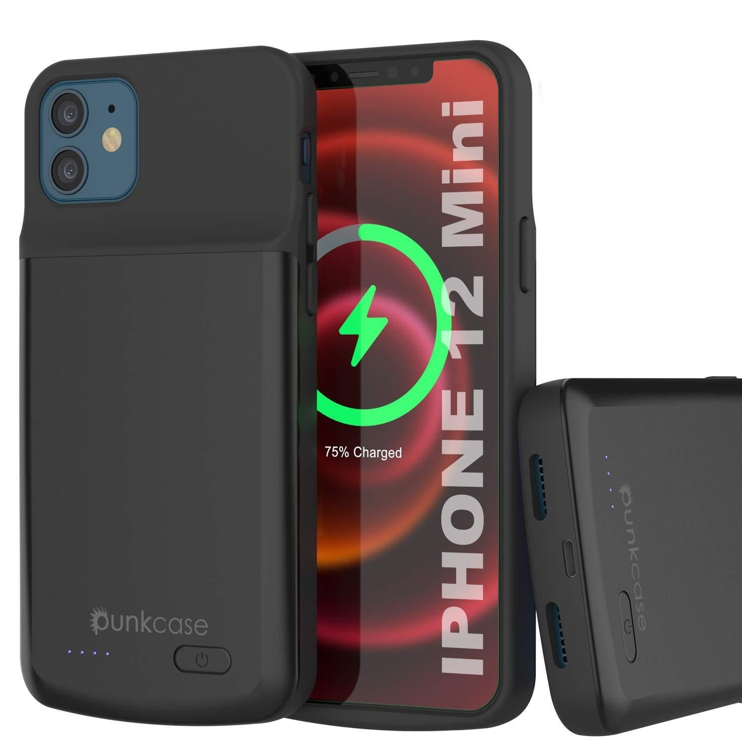 iPhone 12 Mini Battery Case, PunkJuice 4700mAH Fast Charging Power Bank W/ Screen Protector | [Black]