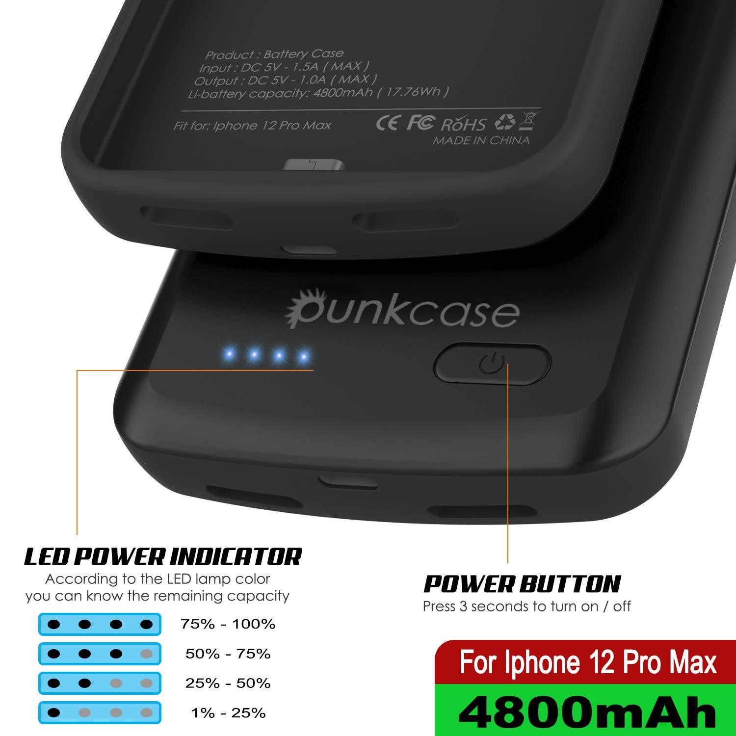 iPhone 12 Pro Max Battery Case, PunkJuice 4800mAH Fast Charging Power Bank W/ Screen Protector | [Black]
