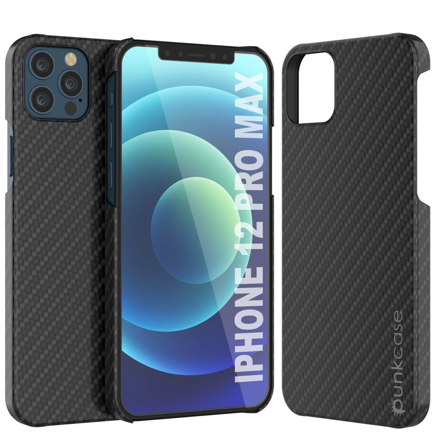 iPhone 12 Pro Max Case, Punkcase CarbonShield, Heavy Duty & Ultra Thin 2 Piece Dual Layer [shockproof]