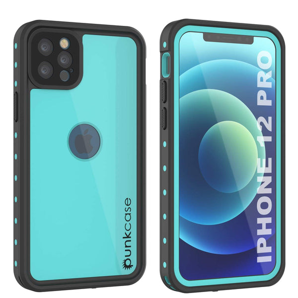 iPhone 12 Pro Waterproof IP68 Case, Punkcase [Teal] [StudStar Series] [Slim Fit]