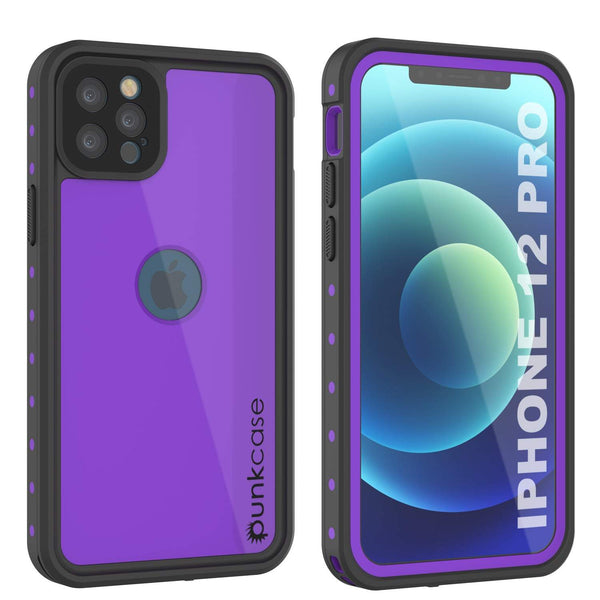 iPhone 12 Pro Waterproof IP68 Case, Punkcase [Purple] [StudStar Series] [Slim Fit] [Dirtproof]