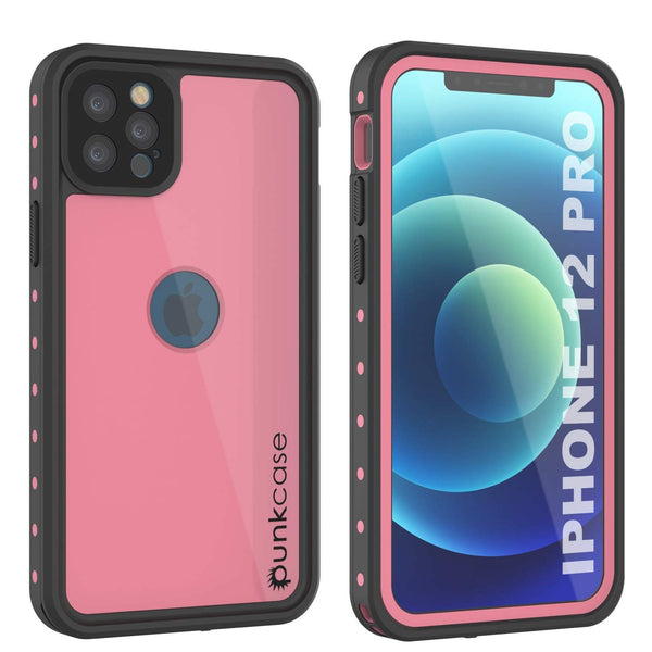 iPhone 12 Pro Waterproof IP68 Case, Punkcase [Pink] [StudStar Series] [Slim Fit] [Dirtproof]