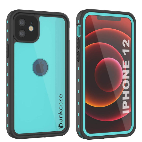 iPhone 12 Waterproof IP68 Case, Punkcase [Teal] [StudStar Series] [Slim Fit]