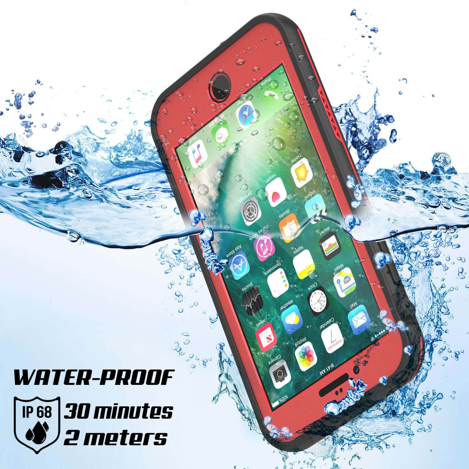 iPhone 7+ Plus Waterproof Case, Punkcase SpikeStar Red Series | Thin Fit 6.6ft Underwater IP68