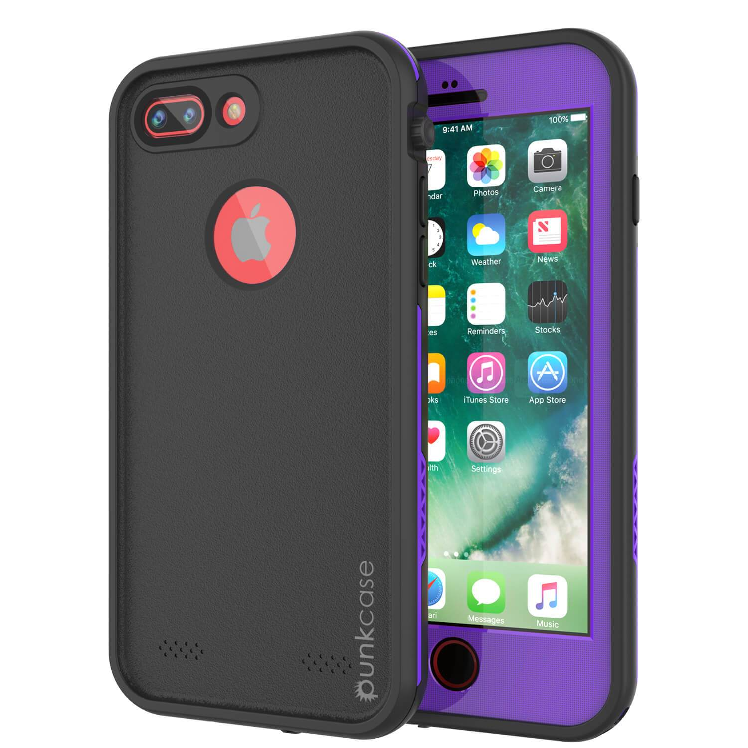 iPhone 8+ Plus Waterproof Case, Punkcase SpikeStar Purple Series | Thin Fit 6.6ft Underwater IP68