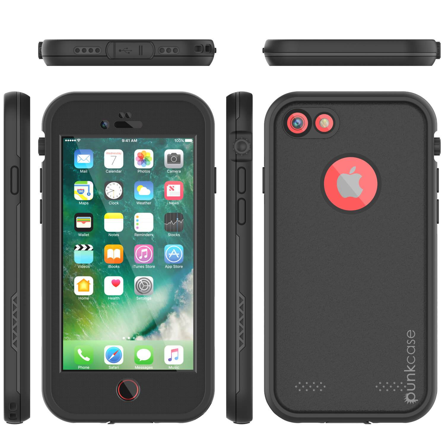 iPhone 8 Waterproof Case, Punkcase SpikeStar Black Series | Thin Fit 6.6ft Underwater IP68