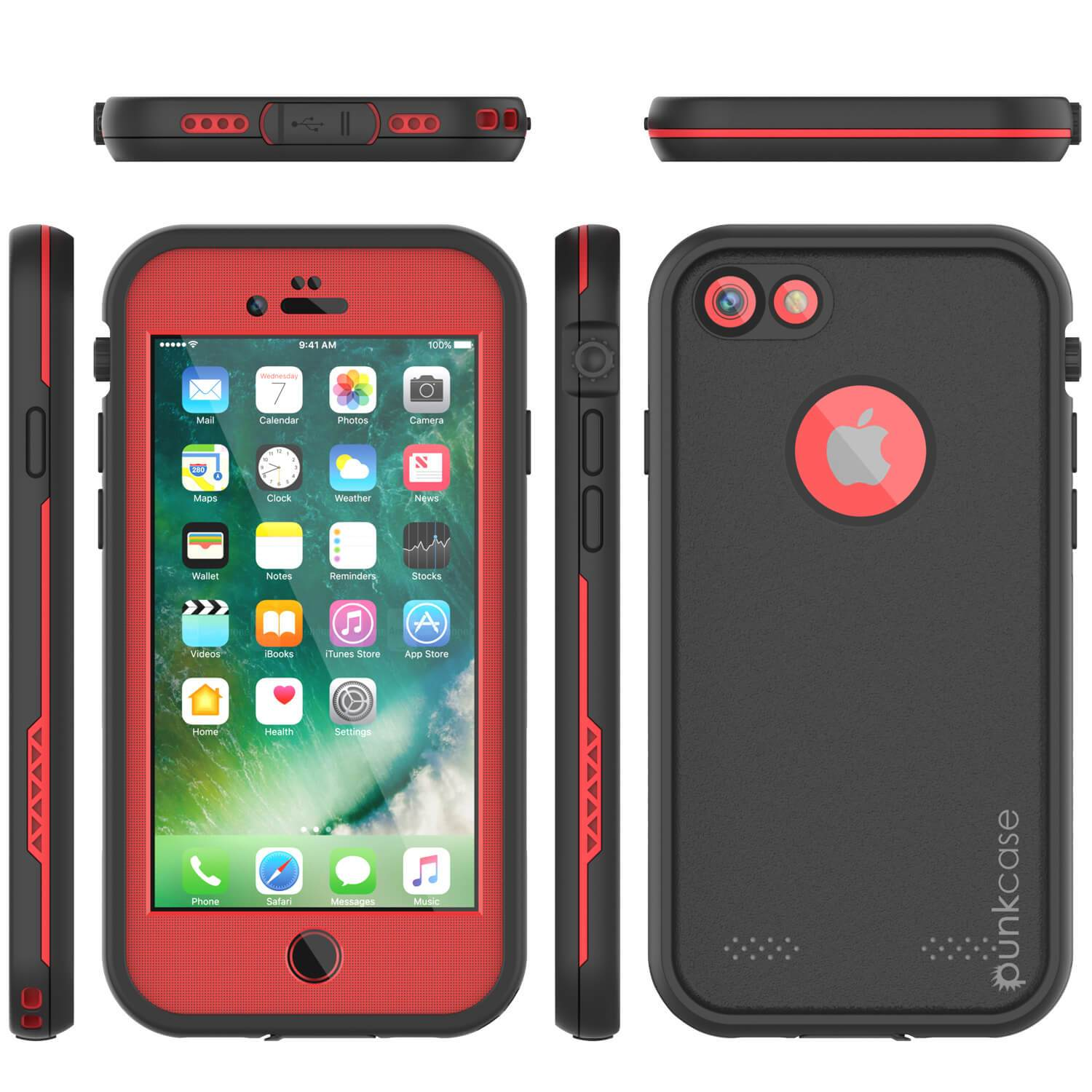 iPhone 8 Waterproof Case, Punkcase SpikeStar Red Series | Thin Fit 6.6ft Underwater IP68
