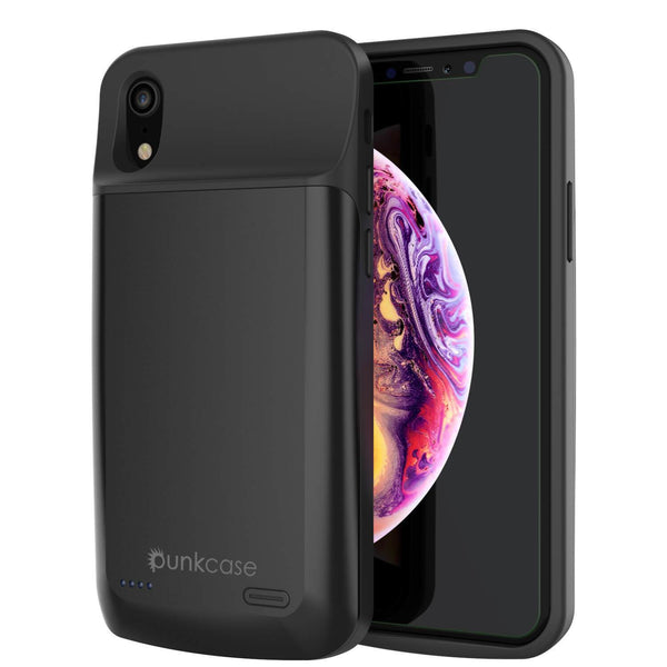 iPhone 11 Pro Max Battery Case, PunkJuice 5000mAH Fast Charging Power Bank W/ Screen Protector | [Black]