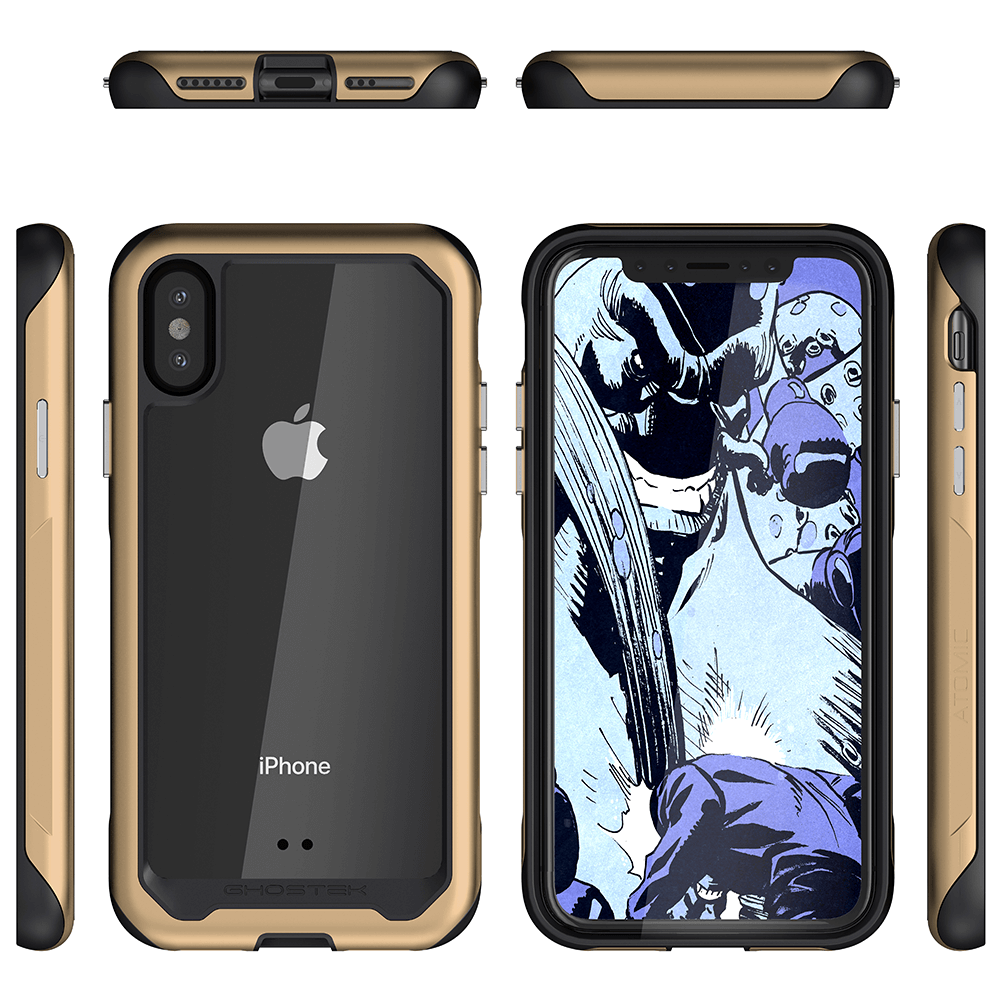 iPhone Xs Case, Ghostek Atomic Slim 2 Series  for iPhone Xs Rugged Heavy Duty Case|GOLD