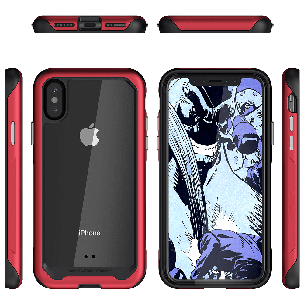iPhone Xs Case, Ghostek Atomic Slim 2 Series  for iPhone Xs Rugged Heavy Duty Case|RED