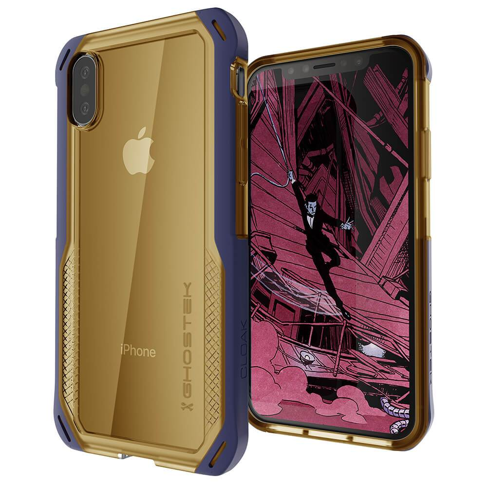 iPhone Xs Case, Ghostek Cloak 4 Series  for iPhone Xs / iPhone Pro Case | BLUE-GOLD