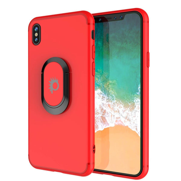 iPhone XS Case, Punkcase Magnetix Protective TPU Cover W/ Kickstand, Tempered Glass Screen Protector [Red]