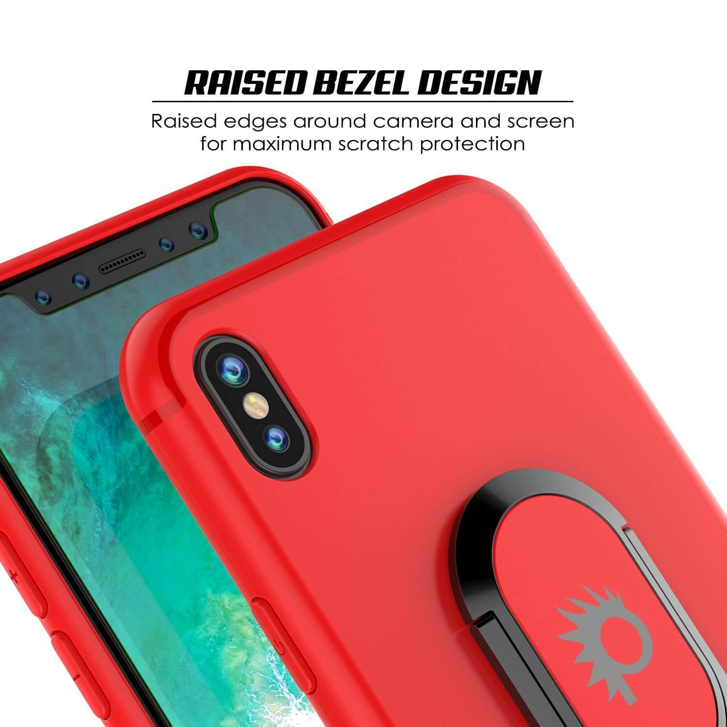 iPhone XS Max Case, Punkcase Magnetix Protective TPU Cover W/ Kickstand, Tempered Glass Screen Protector [Red]