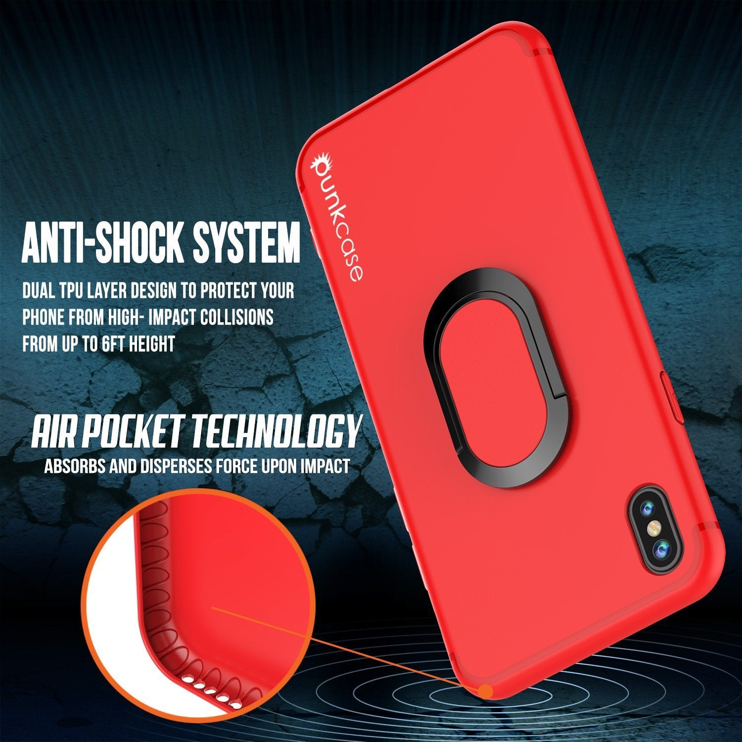 iPhone X Case, Punkcase Magnetix Protective TPU Cover W/ Kickstand, Tempered Glass Screen Protector [Red]