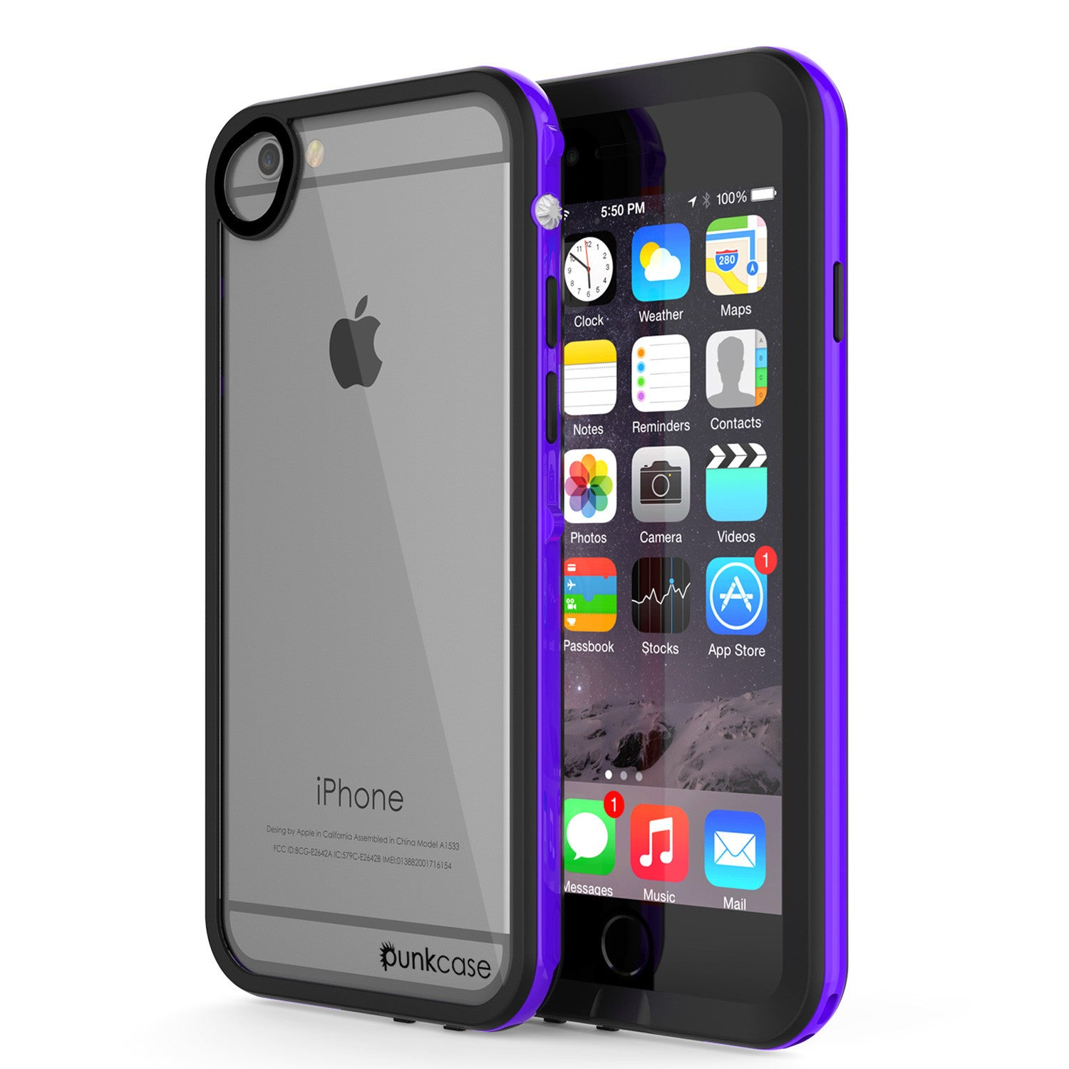 Apple iPhone 7/6s/6 Waterproof Case, PUNKcase CRYSTAL 2.0 Purple W/ Attached Screen Protector | Warranty