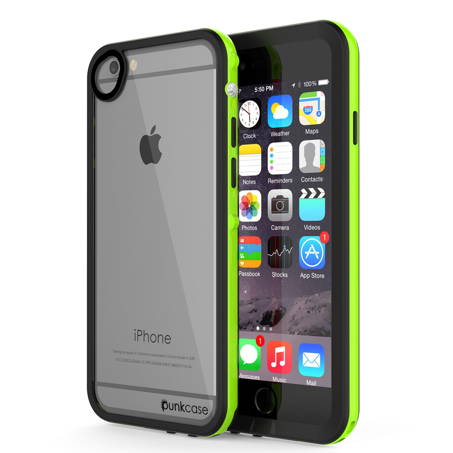 Apple iPhone 7/6s/6 Waterproof Case, PUNKcase CRYSTAL 2.0 Light Green W/ Attached Screen Protector | Warranty