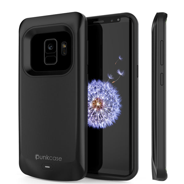 Galaxy S9 Battery Case, PunkJuice 5000mAH Fast Charging Power Bank W/ Screen Protector | Integrated USB Port | IntelSwitch | Slim, Secure and Reliable | Suitable for Samsung Galaxy S9 [Black]