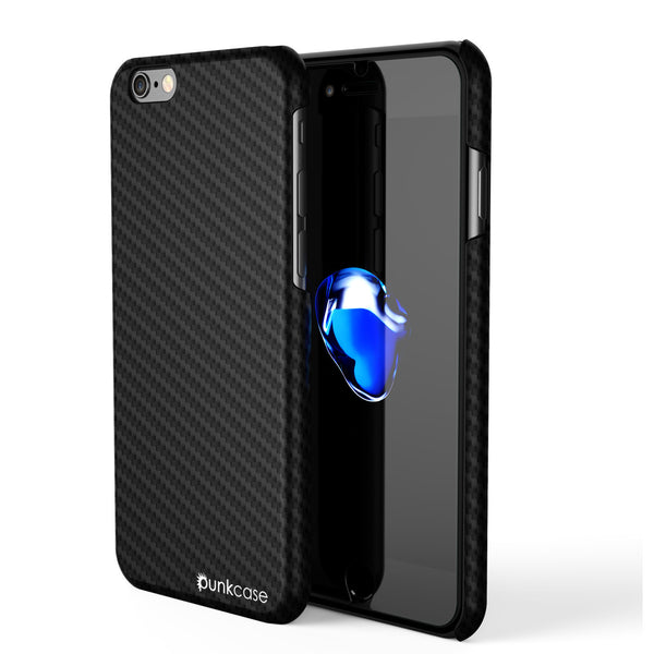 iPhone 7 Case, Punkcase CarbonShield Jet Black with 0.3mm Tempered Glass