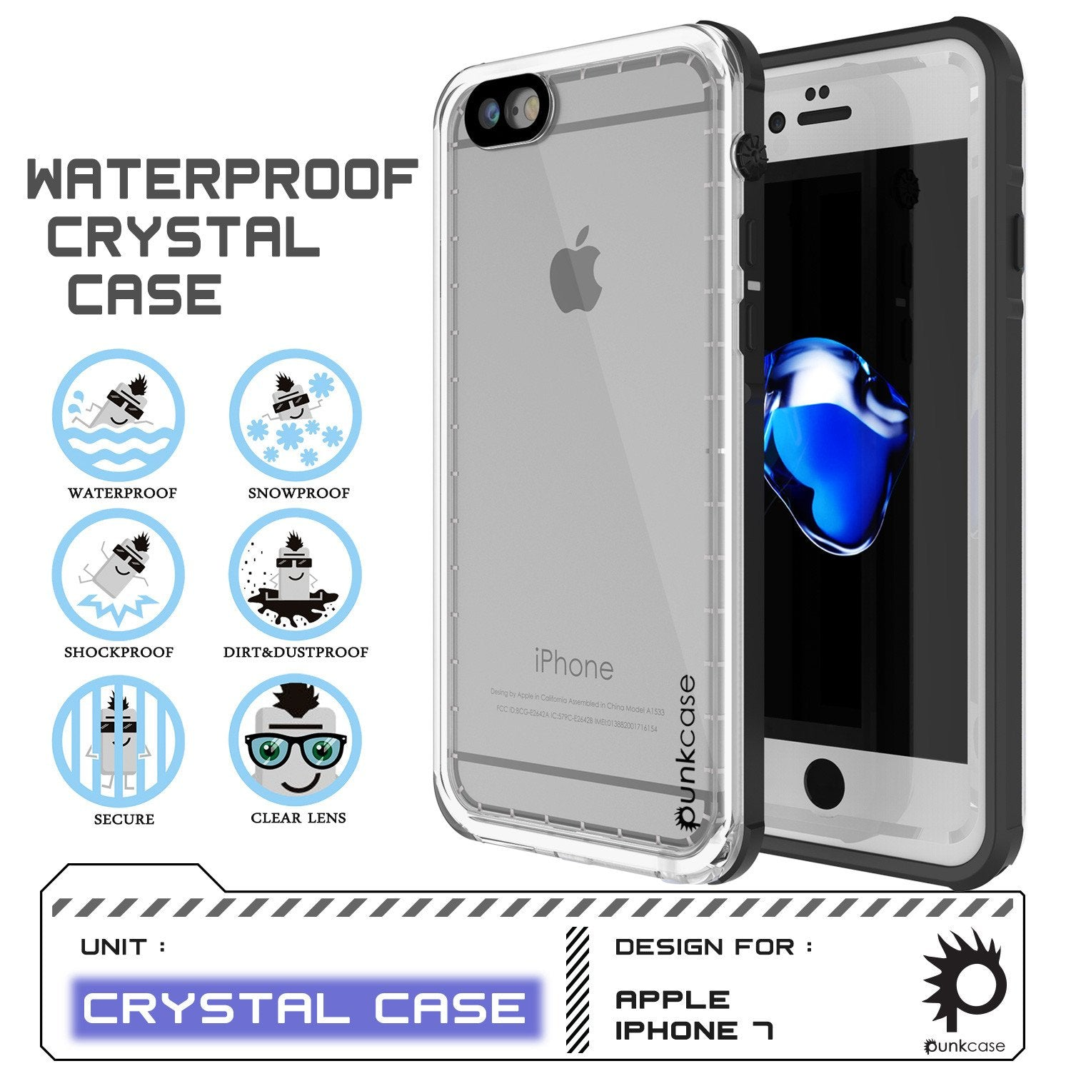 iPhone 8 Waterproof Case, PUNKCase [CRYSTAL SERIES] W/ Attached Screen Protector [WHITE]