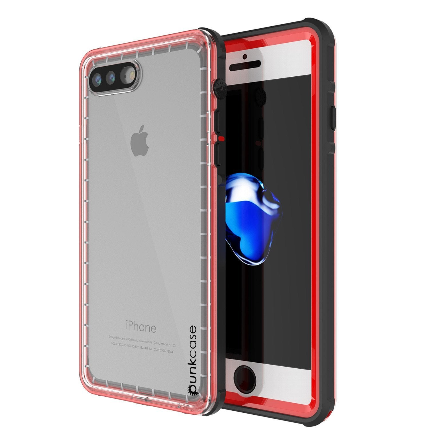 iPhone 8+ Plus Waterproof Case, PUNKcase CRYSTAL Red W/ Attached Screen Protector  | Warranty