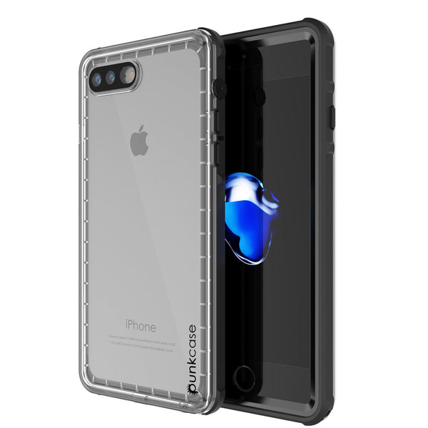 iPhone 8+ Plus Waterproof Case, PUNKcase CRYSTAL Black W/ Attached Screen Protector  | Warranty