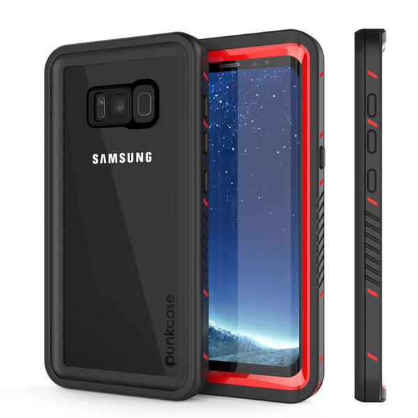 Galaxy S8 PLUS Waterproof Case, Punkcase [Extreme Series] Slim Fit, Armor Cover W/ Built In Screen Protector for Samsung Galaxy S8+ [Red]