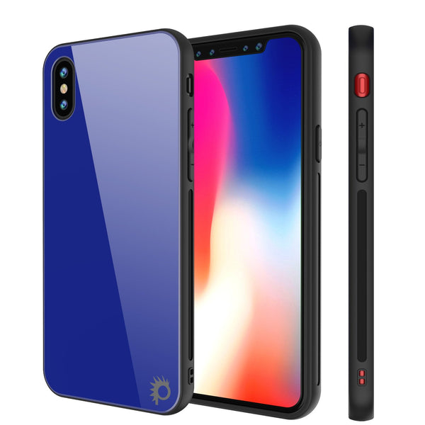 iPhone X Case, Punkcase GlassShield Ultra Thin Protective 9H Full Body Tempered Glass Cover W/ Drop Protection & Non Slip Grip for Apple iPhone 10 [Blue]