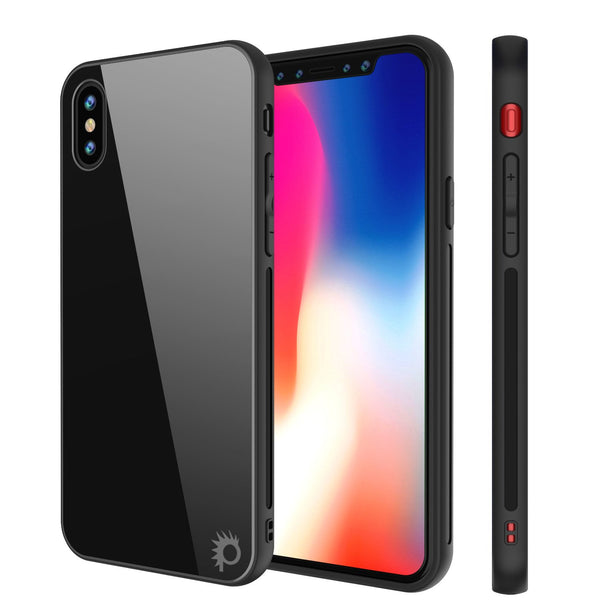 iPhone X Case, Punkcase GlassShield Ultra Thin Protective 9H Full Body Tempered Glass Cover W/ Drop Protection & Non Slip Grip for Apple iPhone 10 [Black]