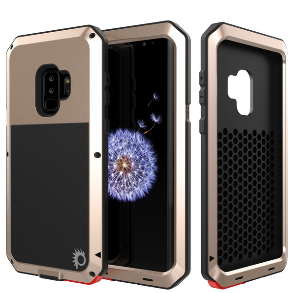 Galaxy S9 Plus Metal Case, Heavy Duty Military Grade Rugged Armor Cover [shock proof] Hybrid Full Body Hard Aluminum & TPU Design [non slip] W/ Prime Drop Protection for Samsung Galaxy S9 Plus [Gold]