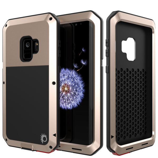 Galaxy S10+ Plus Metal Case, Heavy Duty Military Grade Rugged Armor Cover [Gold]
