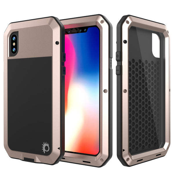 iPhone X Metal Case, Heavy Duty Military Grade Rugged Gold Armor Cover [shock proof] Hybrid Full Body Hard Aluminum & TPU Design