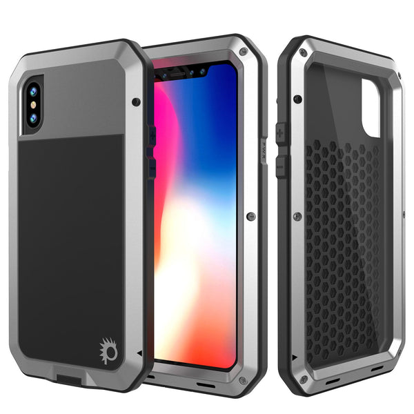 iPhone X Metal Case, Heavy Duty Military Grade Rugged Silver Armor Cover [shock proof] Hybrid Full Body Hard Aluminum & TPU Design